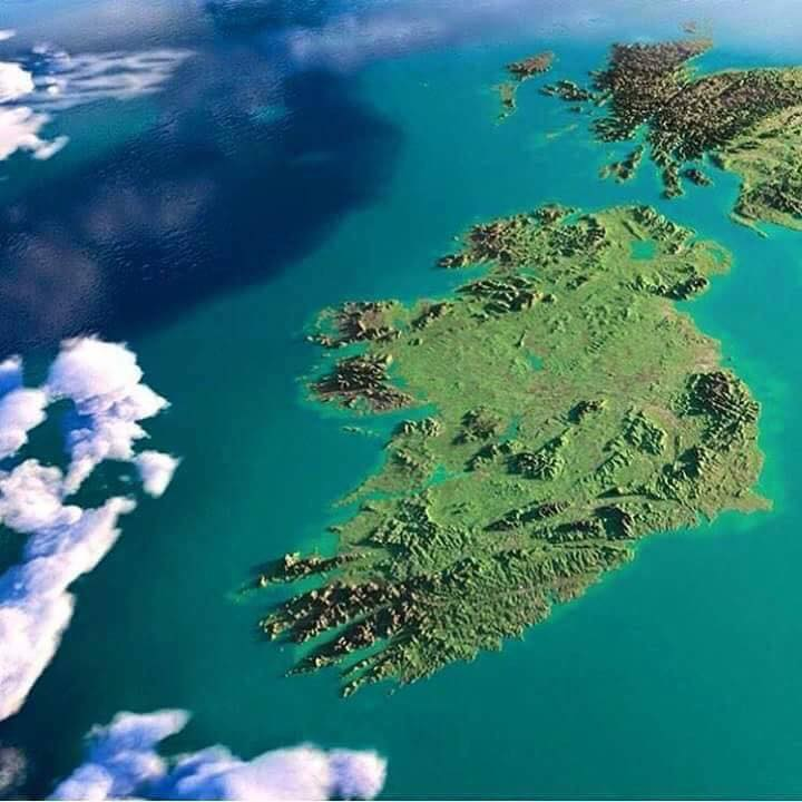Satellite image of the island of Ireland on a clear sunny day